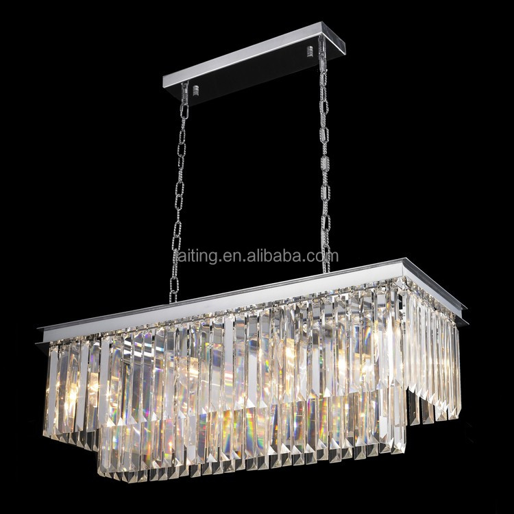 Clear cut K9 crystal rectangular chandelier modern style 71088