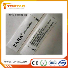 comfortable soft RFID clothing label/UHF anti theft wove tag for garment
