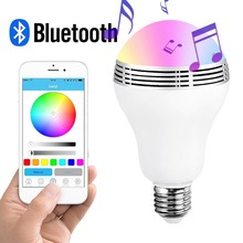 Dimmable Bluetooth Bulb e27 Led, With 5w Speaker And Alarm Clock Function, Smartphone and IR Remote Controlled