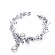 MDEAN MSB008 Women bracelet white gold plated chain Beads Bracelets & Bangles Overlay chain Dense fashion jewelry Accessories