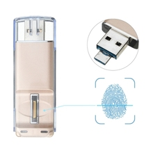 Dropshipping USB 3.0 & Micro USB 16GB Mini USB Flash Drive with Fingerprint Identification Encryption Function for PC and Laptop