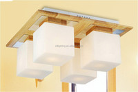 Modern simple solid wood ceiling lamp 4 heads 6 heads glass corridor entrance hall balcony ceiling lamps