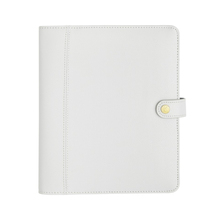 Custom 6 ring binder Planner, large white Leather notebook Diary