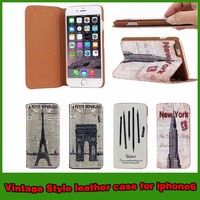 Hot selling retro vintage stand wallet pu leather case cover for iphone 6