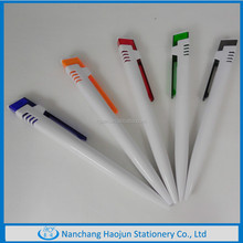 Wholesale Promotion White Plastic Ball Pen With Fancy Square Head,Colorful Clip Plastic Ballpoint Pens