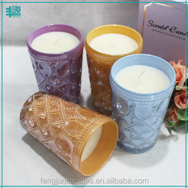 unique glass bottles soy scented gel moroccan candle for sale