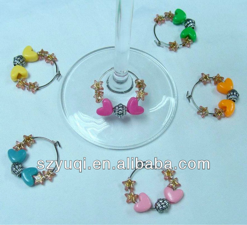 Wholesale plastic heart wine glass charms