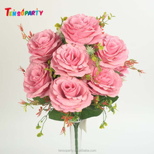 Cheap bouquet wedding real touch 10 heads silk artificial fabric rose flowers for wedding / home decoration