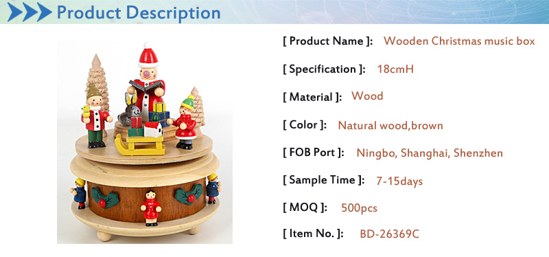 christmas wooden music box, snowman cedar sled decorated music box for X'mas gift