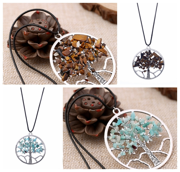 customised necklaces Multicolor Natural Gravel Gemstone Necklace Tiger Eye Stone Opal Stone Tree Of Life Pendant Necklace Men