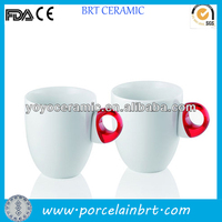 high quality customised white special design handle ceramic mug with nice design printed for promotions