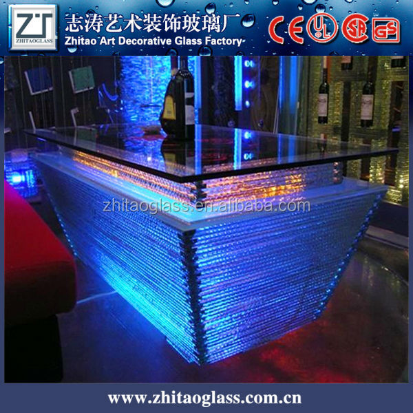 LED light glass wine barrel liquid bar glass coffee table