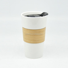 16oz starbucks style ceramic coffee mug shaps with bamboo sleeve and lid