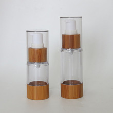 30ml 50ml eco friendly cosmetic packaging bamboo airless pump bottle