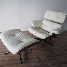 Living Room Furniture Best Quality White Original Leather Modern Design Leisure Chair with Ottoman HY2112
