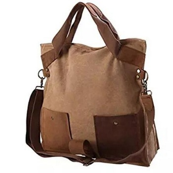 Leather trim eco friendly canvas crossbody school shopping shoulder travel tote bag standard size handbag