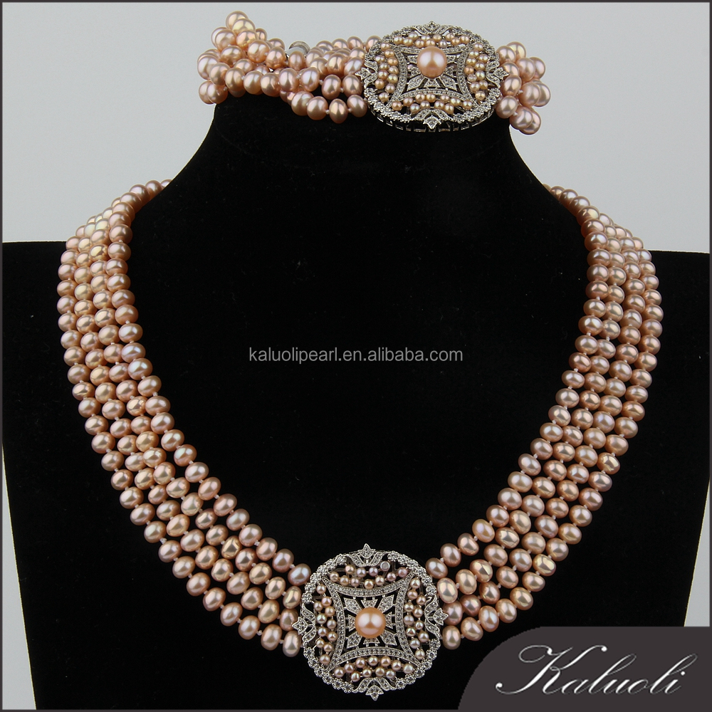 Wholesale bulk costume natural peach pearl big fashion jewelry set