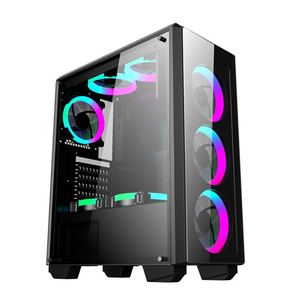 ATX Computer Tower Gaming Case RGB/LED FAN Tempered Glass
