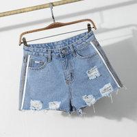 100% cotton high waisted light blue ripped fashion lady denim jean shorts