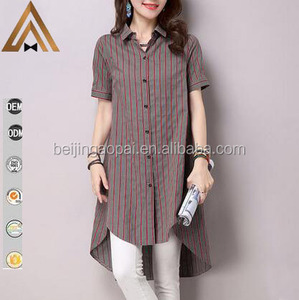 2016 China supply oversized loose V neck stripes curved hem top ladies long shirt design
