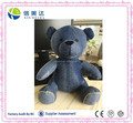 Custom Logo Soft Stuffed Blue Denim Bear toy