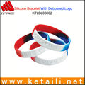 OEM design color silicone bracelet wristband with debossed logo