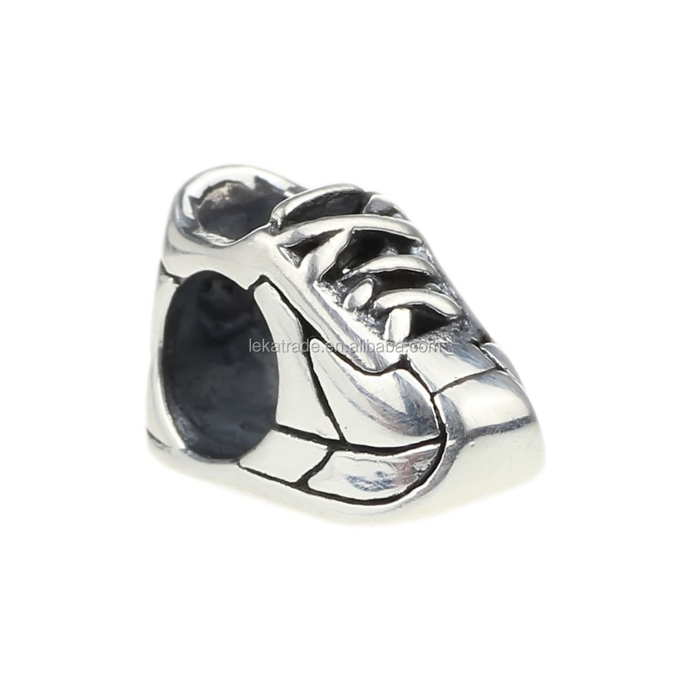 Wholesale 925 Sterling Silver Sneaker Charm Bead