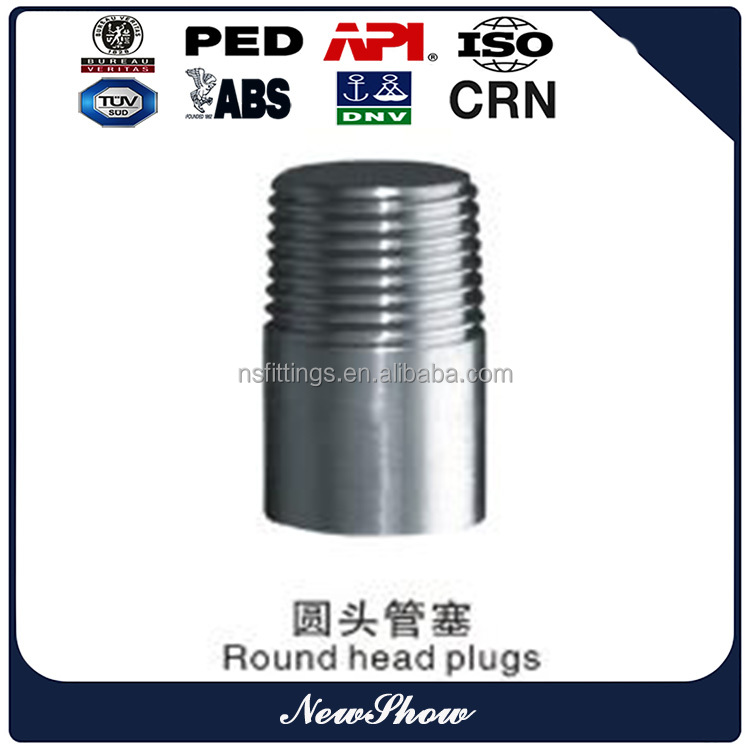 Forged High Pressure Pipe Fittings SS Round Head Male Pipe Plug