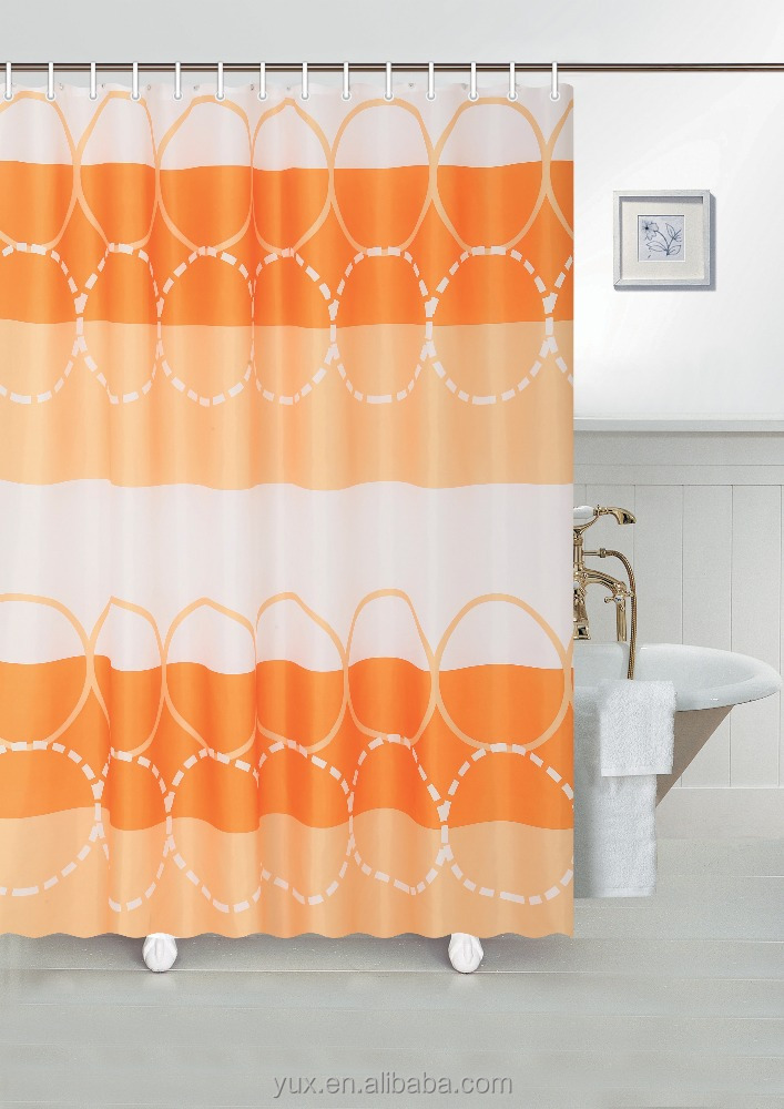 Colorful waterproof bathroom curtain polyester pongee shower curtain from manufacturer and supplier