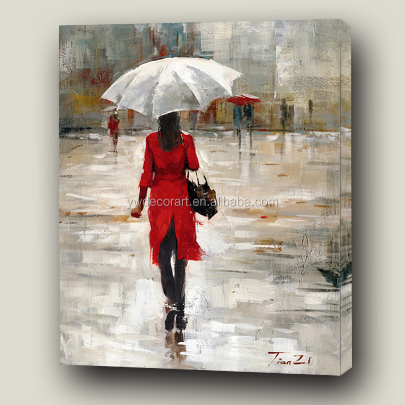 High Quality Art Painting Raining Girl Stretched Canvas Custom Print And 50% Trace drawing
