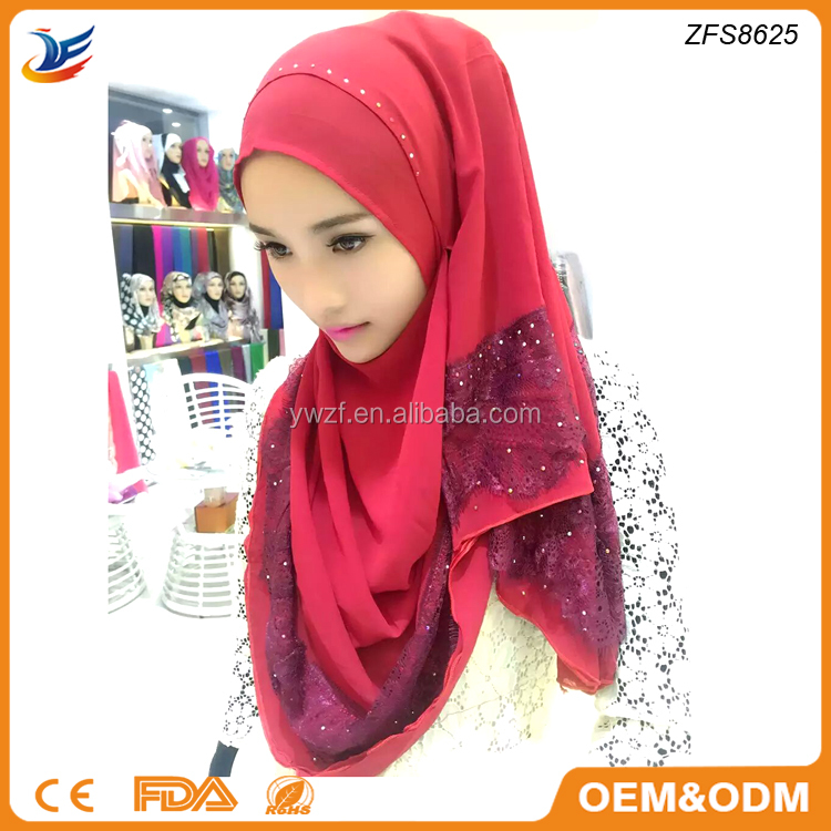Muslim Women Clothing Trendy Unique Lace Hijab Bride Wedding Wear Lace Long Scarf