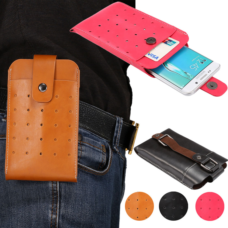 PU Leather Belt Holster Double Pouch Pocket Sleeve Bag Case For Cell Phone