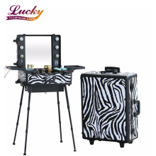 Makeup Trolley Rolling with Mirror & Led Light & Mirror Studio Makeup Case