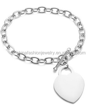 2015 Stainless Steel Highly Polished Heart Charm Bracelet