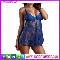sleeveless lace v neck blue sexy lingerie for fat women in stcok