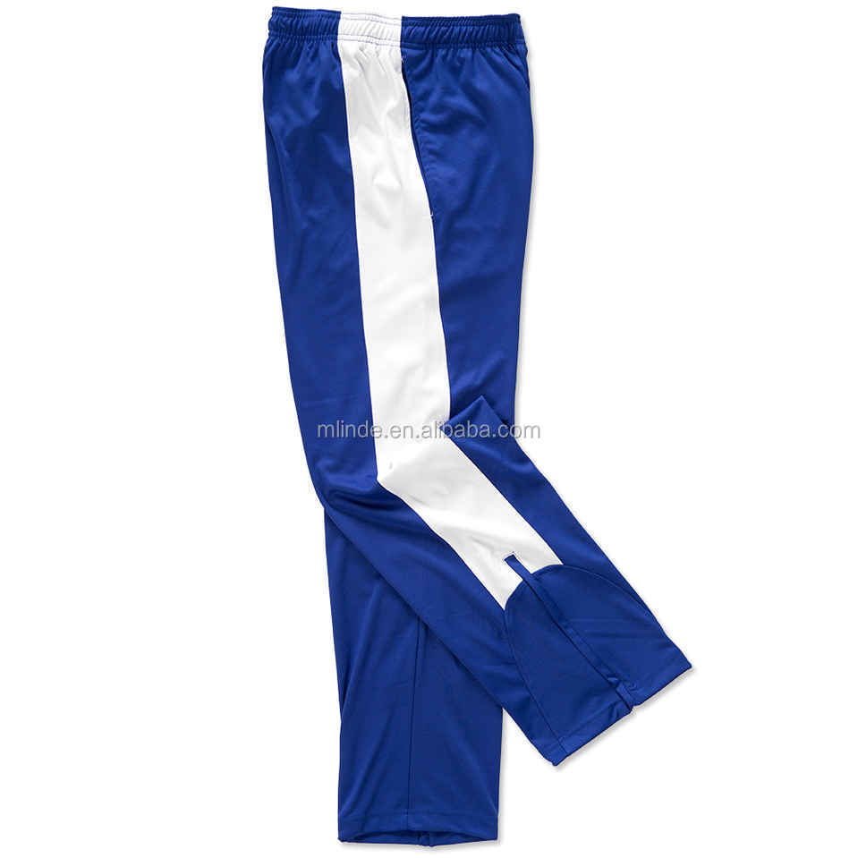 100% Moisture Wicking Polyester Contrast Color Side Panels Performance Men Jogger Pants With Zippers Down Bottom Side Leg