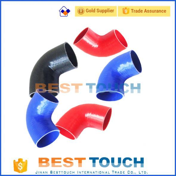 Auto parts flexible 30/45/90/135/180 Degree Elbows multi color customized orange silicone piping clear radiator hose