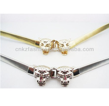 metal elastic belts with animal clasp buckle