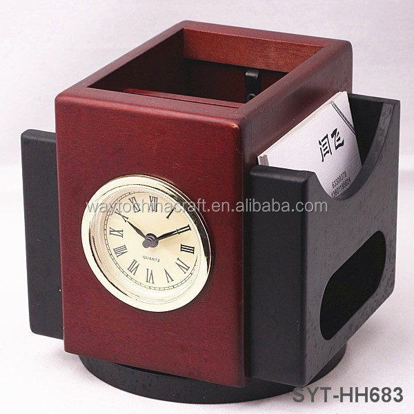 Clock Dial Rotatable Design Wooden pen holder with clock