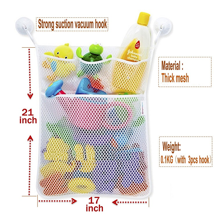 China factory 2017 premium mesh bag baby kids bath toy organizer