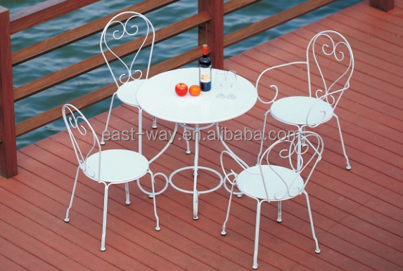 Outdoor garden folding portable steel table and chair