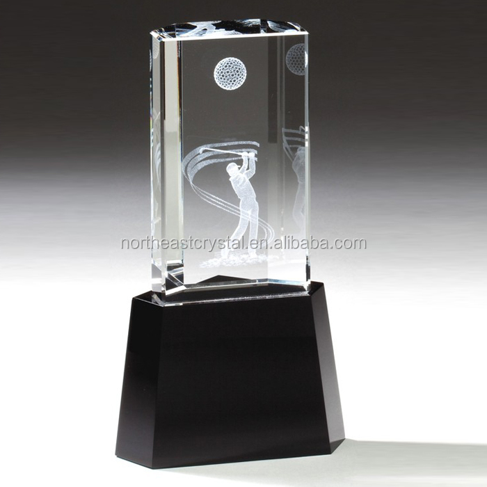 Factory Wholesale 3D Laser Engraving Golf crystal Trophy