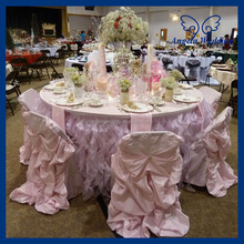 CL010P Cheap organza fancy wedding light pink table cloths with shinny trim