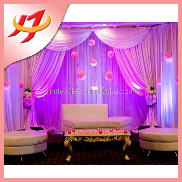Wedding flower backdrop stage fancy curtain background for Background curtain decoration