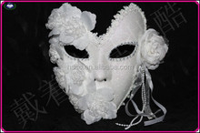 Export high quality feather +flowers+lace white venetian princess party mask full face carnival masquerade mask