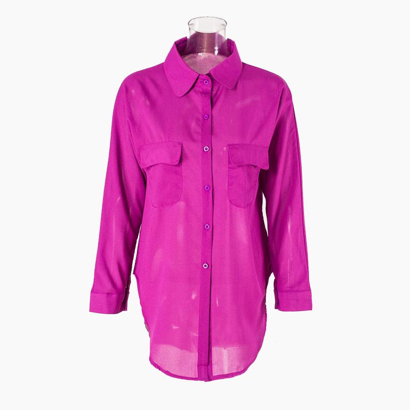 e5d76b103f7d9 Get Quotations · Summer Style 2015 Women Shirts Long Sleeve Purple White  Chiffon Blouse Office Womens Tops Blouses Cheap