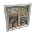 White Photo Wood Collage Frame with REAL GLASS and Displays