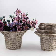 handmade natural weaving rectangular wicker baskets with handle for plants