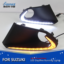Smrke New arrived led daytime running light for Suzuki Baleno 2016 led drl with yellow signal fog lamp cover