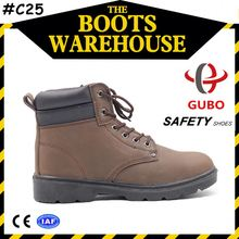 Brown Men Suede Leather Slip Resistant SBP CE Standard High-Cut Steel Toe Safety Shoes